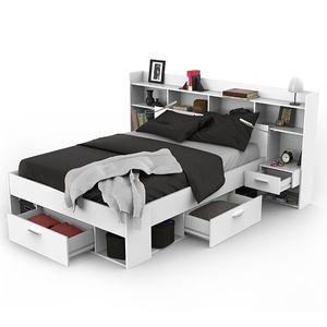 Funktionsbett Fabio inkl Regalwand + Beleuchtung + 3 Bettschubkästen 140*200 cm weiß Kinder Jugendzimmer