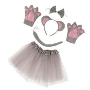 Maus Kostüm Mäusekostüm 5 tlg. Mouse Kostümset Mauskostüm Set Karnevalskostüme Mädchen Tier Mottoparty Verkleidungsset Tierkostüm Mäuschen