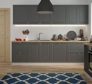 Küchenzeile Küchenblock Küche 280cm grau / RAL 7022 umbragrau matt lackiert Landhaus