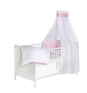 Schardt Kinderbett Lenny, 143x77cm, inkl. Matratze und textiler Ausstattung, Motiv Herzchen rosa