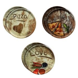 6er Set Pizzateller Oliven-, Salami- & Lieblingspizza Ø 31cm Platte XL-Teller