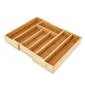 relaxdays Besteckkasten Bambus ausziehbar S