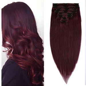 Clip in Extensions Echthaar Doppelt Tressen Haarverlängerung 8 Teiliges SET 100% Remy Hair für komplette Kopf Weinrot 50 cm