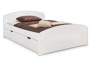 Doppelbett 160x200 3 Bettkasten Rollrost Matratze Seniorenbett Massivholz Weiß 60.50-16WM
