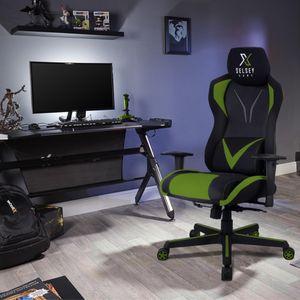 Selsey Gaming Stuhl REGEO – ergonomischer Schreibtischstuhl mit einstellbaren Armlehnen, Wipp- und Drehfunktion, Schwarz / Grün