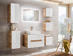 Badmöbel Set 8-tlg Badezimmerset FERMO Weiss HGL inkl. Waschtisch