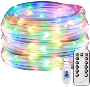 Led Lichterkette, Lichterschlauch Außen, 10M 100er LED USB 8 Modi Dimmbar mit Fernbedienung, Zeitschaltuhr und Merkfunktion, IP65 Lichter für Innen Außen Party Hochzeit Weihnachten Deko [Energieklasse A+]