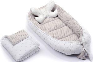 Baby Nestchen + Kissen und Decke Minky 3tlg Kokon Nest Babynest Reisebett Wickelauflage Babydecke Kuschelnest XXL 110x60 cm Grau/Sterne