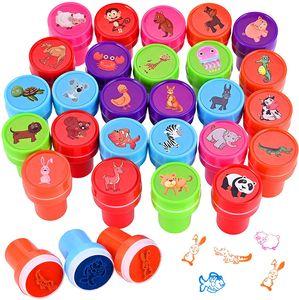 26 Stück Stempelset Tiere, Kinderstempel,Selbstfärbend für Kinder
