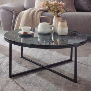 WOHNLING Couchtisch 80x36x80 cm mit Marmor Optik Schwarz | Wohnzimmertisch mit Metall-Gestell | Sofatisch Rund Tisch Wohnzimmer | Beistelltisch