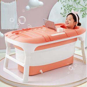 Sunnyme Faltbare Badewanne Kinder Erwachsene Tragbarer Badewanne Große Kunststoff Badewanne 114x60x55cm, Pink