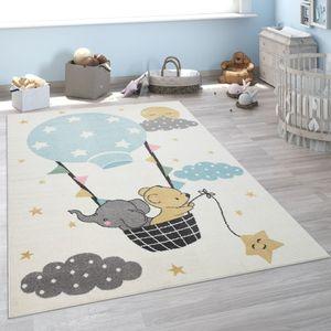 Kinder-Teppich, Kurzflor Für Kinderzimmer, Elefant, Bär, Balon, Mond, in Beige, Grösse:120x160 cm