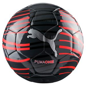 PUMA Fußball Ball One Wave Size 5 Art.82822 02 Asphalt-Red Blast Silver, Farbe:schwarz-rot
