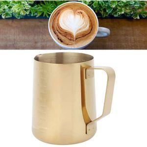 Mllaid Milchaufschäumender Krug - Gold Edelstahl Kaffee Milchaufschäumende Tasse Krug mit Skala für Haus Kaffee Latte Art Verwendung