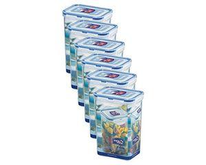 6x Lock & Lock Frischhaltedose 1,3 l Vorratsbox Vorratsdose transparent rechteckig hoch 135 x 102 x 185mm