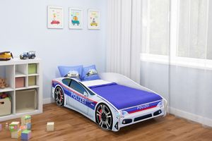 ACMA Jugendbett Kinderbett Auto-Bett Junior Cars Bett Komplett-Set mit Matratze, Lattenrost und Rausfallschutz 160x80 cm - Polizei -3