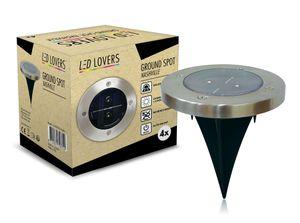 LED LOVERS 4x LED Solar Bodenleuchten mit Sensor, wasserdichte Gartenleuchten mit Erdspieß mit Dämmerungssensor, Solarleuchten für den Garten, Bodeneinbauleuchten