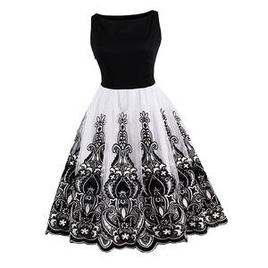 Damen Elegant Blumen Sommerkleid Abendkleider Cocktailkleider Partykleider Tanzenkleider Ballkleider Swing Kleider Faltenrock Ballkleider wie beschrieben Weiß Schwarz 3XL