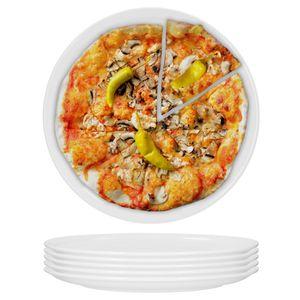 6erset Pizzateller Jumbo-Teller Ø30cm Servier Tafel Pizza Porzellan Grill rund blanko weiß Gastro