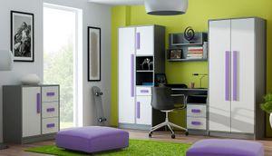 Jugendzimmer Set A Olaf, 6-teilig, Farbe: Anthrazit / Weiß / Lila