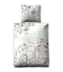 jilda-tex Sommer-Bettwäsche Baumwolle Slub Leinen-Optik 100% Baumwolle Verschiedene Designs (Blooming Garden)