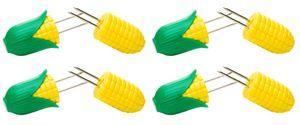 homiez 4er Pack Maiskolbenhalter PIXXI, Maishalter liegt gut in der Hand, gelb-grün, für 4 Maiskolben