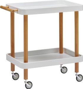 Servierwagen Küchenwagen Rollwagen Beistelltisch Rollen Weiß Massivholz