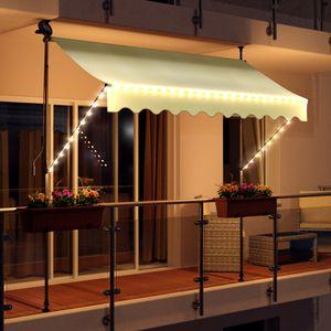 LED - Markise mit Kurbel 300cm Breit Klemmmarkise Balkonmarkise Sonnenschutz Terrasse Balkon - 300x150cm - creme