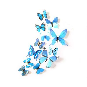 Oblique Unique 3D Schmetterlinge 12er Set Wandtattoo Wandsticker Wanddeko - Real blau
