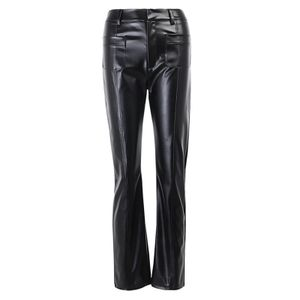 Frauen Lederhosen Hohe Taille Push-Up-Tasche Stretchy Straight Leg Pants y Night Club PolyurethanHose[schwarz-M]