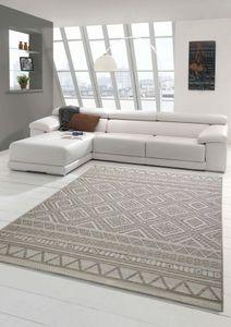 In- & Outdoor Teppich Sisal Optik Küche Wohnzimmer Terrasse Balkon Rautenmuster – beigefarben Größe - 140x200 cm