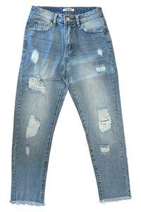 Damen Cropped  Mom Denim Jeans Weite Destroyed Fransen Design Hose Zerstörte Ankle Boyfriend Pants, Farben:Blau, Größe:36
