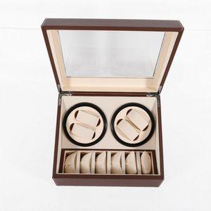 Automatische Rotation Uhrenbeweger Leise Display Aufbewahrungsbox aus Holz Kunstleder für 4 + 6 Uhren, Braun