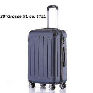 Reise Koffer Hartschalenkoffer Trolley Reisekoffer XL Dunkelblau 4 Rollen Roll-Koffer Handgepäck