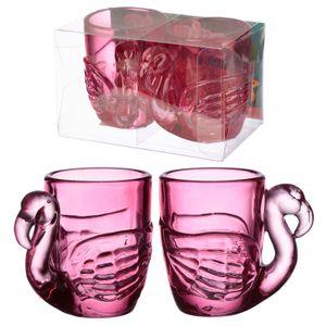 Puckator 2 x Flamingo Schnapsgläser Pinnchen Shot pink Party Highlight Glas à 90 ml