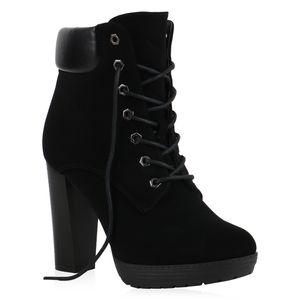 Mytrendshoe Damen High Heels Stiefeletten Blockabsatz Schnürer Plateau Schuhe 835541, Farbe: Schwarz, Größe: 39