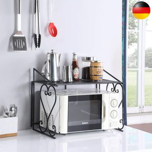 Metall Mikrowelle Regal Küchenregal Halterung Mikrowellenregal Küche Standregal Mikrowellenhalter Halter Regal für Mikrowelle Küche Schwarz(54cm*42.5cm*36cm)
