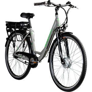 Zündapp Z502 700c E-Bike Citybike Pedelec 28 Zoll E Damenfahrrad Elektrofahrrad Tiefeinsteiger, Farbe:grau/grün, Ausführung:ohne Korb