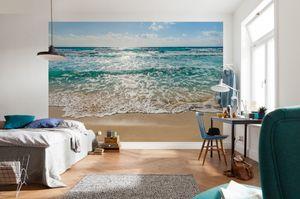 """Komar Fototapete """"Seaside"""", blau/beige, 368 x 254 cm"""