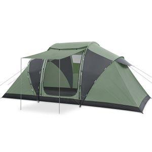 6-8 Personen Outdoor Camping Zelt Familienzelt Regenschutz Outdoor Klettern Camping Zelt 485x240x195 cm, Grün