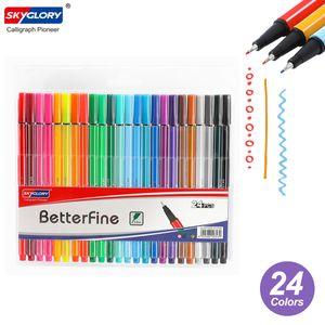 SKYGLORY 24 Farben Fineliner-Stifte 0,4 mm Feine Spitze Markierungszeichnung Farbstifte Set Art Office Schulbedarf für Journaling-Planer Schreiben von Notizen Aufnehmen Malen Färben Skizze