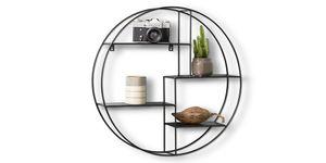 LIFA LIVING Rundes Wandregal aus schwarzem Metall, Gewürzregal im Industrie Design, Küchenregal mit 4 Böden, Moderne Wanddeko Ø 55 cm x 11 cm