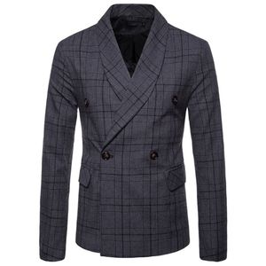 Herren New Fashionable Checked Zweireiher Anzug Jacke Button Lattice Coat Größe:L,Farbe:Dunkelgrau