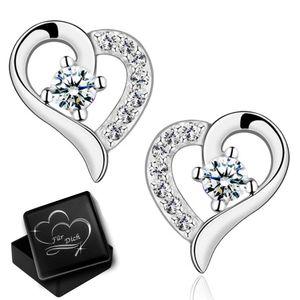 Damen Mädchen  Ohrringe mit Herz echt 925 Sterling Silber Zirkonia Frauen Ohrstecker Herzohrringe mit Gravur Dose K970+V12