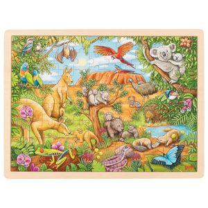 goki 57441 Einlegepuzzle Australische Tierwelt 40 x 30 x 0,8 cm, Holz, 96 Teile, bunt