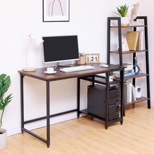AKALNNY Schreibtisch 2 Ablagen Holzoptik Metallgestell 120*60*75cm einfacher Aufbau Computertisch Eckschreibtisch Vintage