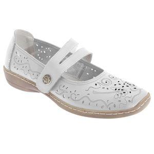 Boulevard Damen Sommer Leder-Schuhe mit Lochmuster DF413 (38 EU / 5UK) (Weiß)