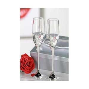 "Casablanca - 2er-Set Champagnerglas ""Mr. + Mrs."" aus Metall / Glas · silber i..."
