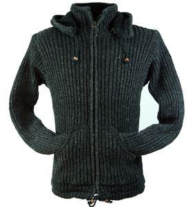 Strickjacke Wolljacke Nepaljacke, Damen, Schwarz, Wolle, Größe: XL