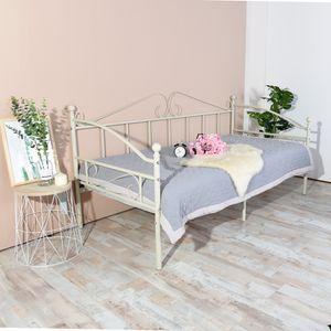 HJ Bettsofa mit Lattenrost Metallbett Bettrahmen, Jugendbetten,Schlafsofa für Schlafzimmer Wohnzimmer, Weiß 90 x 200 cm